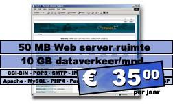 DreamHost.2 Web hosting pakket (50 MB Web server ruimte, 20 GB dataverkeer/mnd.) voor € 35,00 per jaar.