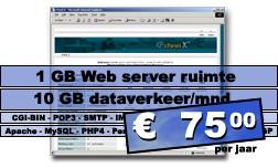 DreamHost.5 Web hosting pakket (1 GB Web server ruimte, 20 GB dataverkeer/mnd.) voor € 75,00 per jaar.