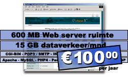 DreamHost.6 Web hosting pakket (600 MB Web server ruimte, 30 GB dataverkeer/mnd.) voor € 100,00 per jaar.