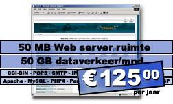 DreamHost.7 Web hosting pakket (50 MB Web server ruimte, 75 GB dataverkeer/mnd.) voor € 125,00 per jaar.